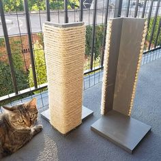Couch Corner Cat Scratching Post 18-24 inches tall Stained
