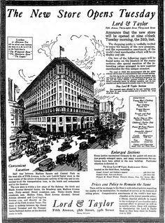 Department Store Blues: When Lord & Taylor moved to Fifth Avenue - and when they'll move out - The Bowery Boys: New York City History The Bowery Boys, New York City Buildings, I Love Nyc, Vintage Ads, Vintage Stores, Vintage Items, Old Ads, Merchandising Displays, Department Store