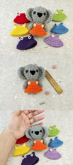 Crochet amigurumi koala bear, koala amigurumi, crochet koala, koala bag charm