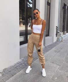 High Waist Cargo Pants - LePastell Concealed fly with button fastening Functional pockets Cargo design Fitted cuffs Tapered leg Regular cut Fits you just right. SEE DETAILS Jogger Outfit, Cargo Pants Outfit, Cargo Pants Women, Pants For Women, Clothes For Women, Women's Pants, Boyfriend Pants Outfit, White Cargo Pants, Adidas Pants