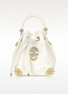 Philipp Plein  Baby Dinamite Skull Leather Bucket Bag
