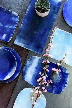 Bluep Serving Plate #ceramics #blue #plate #home decor #1220ceramicsstudio