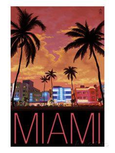 South Beach Miami, Florida, c.2008 Kunstdrucke von Lantern Press bei AllPosters.de