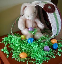 Girl's Easter Basket, Light Pink and Green by StitchedByMary on Etsy