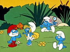 The Smurfs - Back when cartoons came on network tv on Saturday mornings. I had a Papa Smurf stuffed toy and tons of little posed, plastic smurfs. My Mom would take my sister and me to the Hallmark store every week or two so we could pick out a new smurf. We had a huge collection. It was very smurfy!