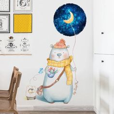 """""""Let's be friends and walk under a starry sky! Animal Nursery, Spice Things Up, Wall Decals, Sky, Bear, Friends, Animals, Animales, Heaven"""