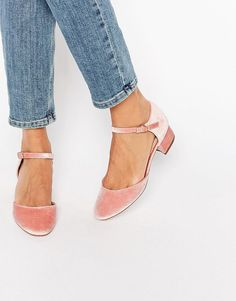 DETAILS Heels by ASOS Collection, Velvet upper, Pin buckle ankle strap, Round toe, Low block heel