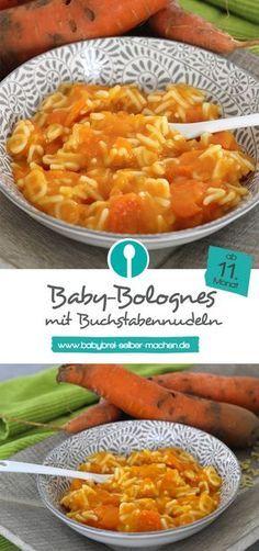 Rezept für stückigen Babybrei: Bolognese mit kleinen Buchstabennudeln für Babys ab dem 11. Monat.