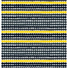 Räsymatto fabric, black-yellow, by Marimekko.