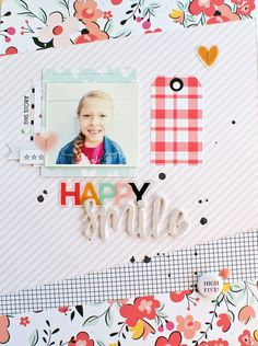 Happy Smile by MichelleWedertz at Studio Calico Baby Scrapbook Pages, Scrapbook Sketches, Scrapbook Paper Crafts, Scrapbooking Layouts, Scrapbook Cards, Studio Calico, Happy Smile, Layout Inspiration, Happy Planner