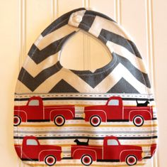 Grey Chevron Truck Bib Red Truck Baby Bib by mylittlemookie, $13.00