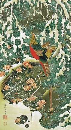 Jakuchu Golden Pheasant in the snow view (eclectic gold genealogy), #Japan