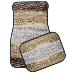 """Title : 109, Bling, Geometric Stripes, Brown/Silver/Gold Car Mat  Description : BLING, """"Bling-Bling"""", Diamonds, Ice, Fashions, Jewels, Gemstones, """"Chic-Girly"""", Glitter, """"Faux-Glitter, Silver, Gold, Platinum, """"Teen-Gifts"""", Sparkle, Stars, """"Bling-Wings"""", Decorative, """"Animal-Bling"""", """"Flower-Bling"""", Gifts, Rhinestones, Beads, """"Home-Accents"""", """"Home-Décor"""", Contemporary, Modern, Retro, Jeweled, Sequins, Graphite, Studded, """"Custom-Designs"""", Dazzling, Bedazzled, """"Geometric-Bling"""", Fabrics…"""