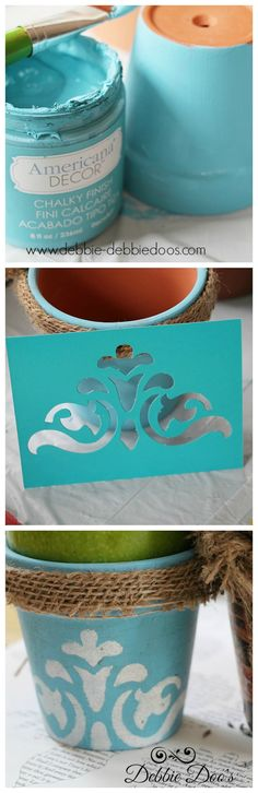 Diy french terracotta pots. Stenciling and painting on terracotta and a little video I made.