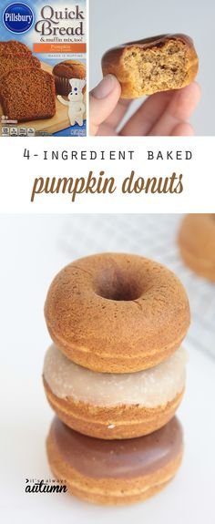 these delicious pumpkin donuts are super easy because they start with a box mix and are ready in under 15 minutes! easy caramel glaze recipe included.