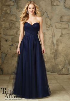 Bridesmaids Dress 112 - Tulle Affairs Tulle Zipper Back. Shown in Navy. Available in all Tulle Colors.
