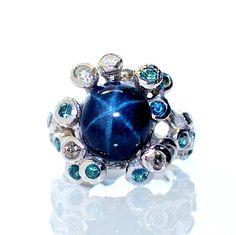 carat star sapphire cabochon Gemstone Jewelry, Jewelry Box, Jewelry Rings, Jewelery, Jewelry Accessories, Jewelry Design, Designer Jewelry, Fine Jewelry, Star Sapphire