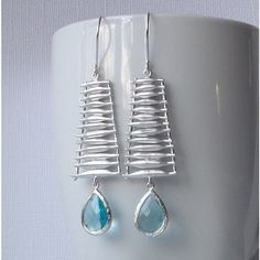 Aquamarine Blue Crystal and Silver Dangle by PeriniDesigns on Etsy via Polyvore