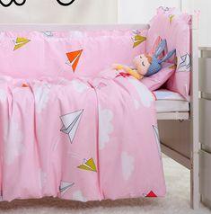 7PCS Baby bedding sets cotton baby bumper Cartoon crib bedding set Infant Baby Cot Bedclothes,(4bumper sheet pillow duvet)