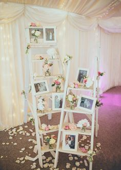 Chic Wedding Photo Display Ideas with Old Ladders