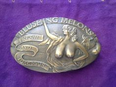 Blushing melons, 1977 capt. Hawks sky patrol and novelty Co belt buckle in Tacoma, WA (sells for $30)