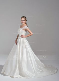 Ball-Gown Scoop Neck Chapel Train Satin Tulle Wedding Dress With Ruffle Beading Appliques Lace Sequins (002075657) - JJsHouse