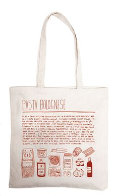 Recipe tote bags by Alessandra Olanow, $26 each; oneandthesamenyc.com