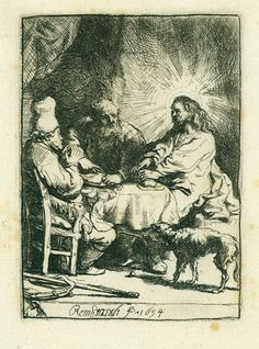 The Supper at Emmaus, Rembrandt, etching