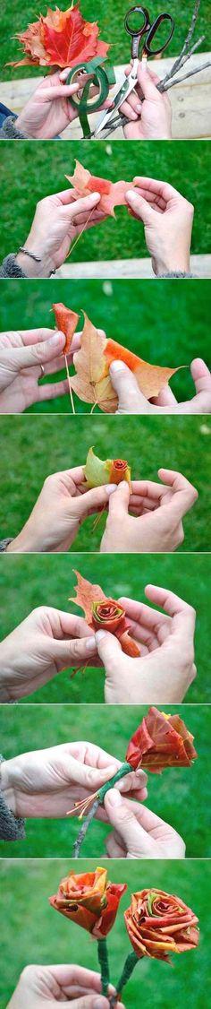 basteln herbst ahornblätter trocken blumen strauß machen