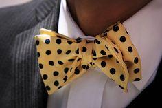 bow, tie, polka dots, yellow, black, mens fashion