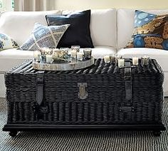 The wicker . The fur . The zebra print! Pottery Barn / Fall Catalog / Favorites - The Wicker House Living Room Furniture Sale, Rattan Furniture, Leather Furniture, Home Decor Furniture, Home Furnishings, Furniture Design, Living Rooms, Pottery Barn Fall, New Classic Furniture
