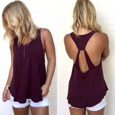 """Open Back Tank Tops Loose fitting tank tops. Unlined & thin material. Cotton/poly blend. Cute, open back. Fits a little big for size. Adorable over a bandeau / bralette.  Flat measurements: S: 16"""" armpits across / 15.5"""" length M: 17"""" armpits across / 16"""" length  Please ask questions prior to purchasing.  • no trades • bundles get 10-15% off ⭐️firm price⭐️ Lilacs & Lace Tops Tank Tops"""