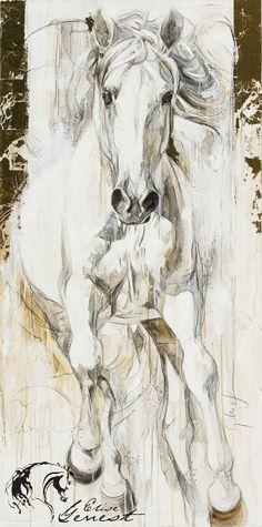 Toiles passées - past paintings — Elise Genest Horse Artwork, Cool Artwork, Horse Pictures, Art Pictures, Horse Drawings, Art Drawings, Watercolor Animals, Watercolor Paintings, Equine Art