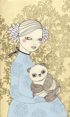 Girl with Panda Art Print by Irena Sophia | Society6