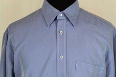 BUGATCHI UOMO Mens Long Sleeve Blue Striped Shirt sz L Large #BugatchiUomo #ButtonFront