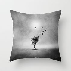 Minimal B&W II Throw Pillow by Viviana González - $20.00