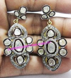 2.10ct Victorian Rose Cut Diamond Earring 925 Silver Vintage Style Estate Mughal Style Anniversary Wedding Party Wear Dangle Earring $305.00