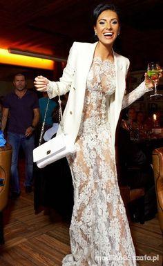 Sexxxy long lace white dress with white jacket and purse  Russian Fashionista Olesya Malinskaya