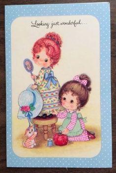 Vintage-Greeting-Card-Young-Girls-Sewing-wearing-Gingham-Dress-Kitten-Stool