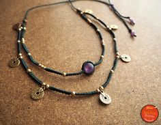 Two layered Macrame Necklace with Amethyst stone brass beads