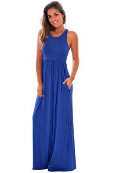 Blue Racerback Maxi Dress with Pockets modeshe.com