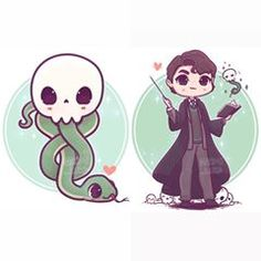 ✨💚 Danger Noodle and King of the Danger Noddles 💚✨(or maybe Lord of the Danger Noodles) 🐍✨ Who's your favourite villain? (In any story/movie/book) Stickers and prints of these two will be available on my Etsy tomorrow! Arte Do Harry Potter, Cute Harry Potter, Harry Potter Artwork, Images Harry Potter, Theme Harry Potter, Harry Potter Drawings, Harry Potter Anime, Harry Potter Wallpaper, Harry Potter Characters