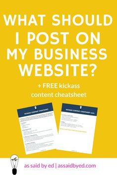 In this post, I'm going to give you a jumpstart to creating kick-ass content for your business website and explain all the things you need to include to make sure you're getting the most out of it. Click through to download my FREE Kickass Content Cheatsheet! :http://www.assaidbyed.com/business-website/
