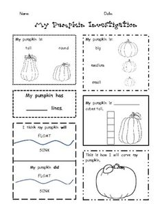 This sheet is used as part of a pumpkin unit. Each child uses observation and measurement to conduct an investigation and report their findings. Fall Preschool, Kindergarten Science, Kindergarten Classroom, Preschool Halloween, Classroom Fun, Classroom Activities, Parts Of A Pumpkin, First Grade Science, Student Teaching
