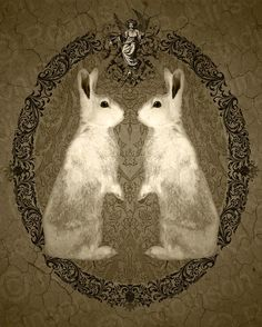 Double Rabbit by Mikel Robinson 5 x or x (Printed on 8 x / 11 X 14 (Printed on 13 x / 15 x 19 (Printed on 17 x Edition of 100 Each print is signed, dated, and numbered. This piece was created based on the idea of those. Gravure Illustration, Illustration Art, Year Of The Rabbit, Motifs Animal, White Rabbits, Rabbit Art, Bunny Art, Country Charm, Alice In Wonderland