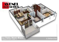 Réalisation d'une vue 3D découpée d'un appartement T3 pour une promotion immobilière