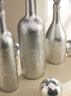 Spray Painted Wine Bottles | Make It Monday: Glitzy Silver Bottle Trio Centerpiece | Paint Me Plaid