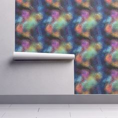 Isobar Durable Wallpaper featuring TEXTURED GLASS BLUE RAINBOW SHADES by paysmage | Roostery Home Decor