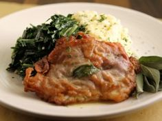 Roman Style Saltimbocca alla Romana: Veal cutlet with sage and procuitto, use butter, chicken stock and spinach for accompaniment (or risotto)