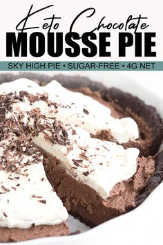 Rich, and delicious, this sky high chocolate mousse pie is also keto friendly! Creamy sugar-free chocolate mousse in a chocolate pie crust, topped with luscious whipped cream. This is a keto dessert that will impress the most diehard chocolate lover. Chocolate Pie Crust, Keto Chocolate Mousse, Chocolate Pies, Sugar Free Chocolate, Homemade Chocolate, Brownie Pie Crust Recipe, Low Carb Sweets, Low Carb Desserts, Low Carb Recipes
